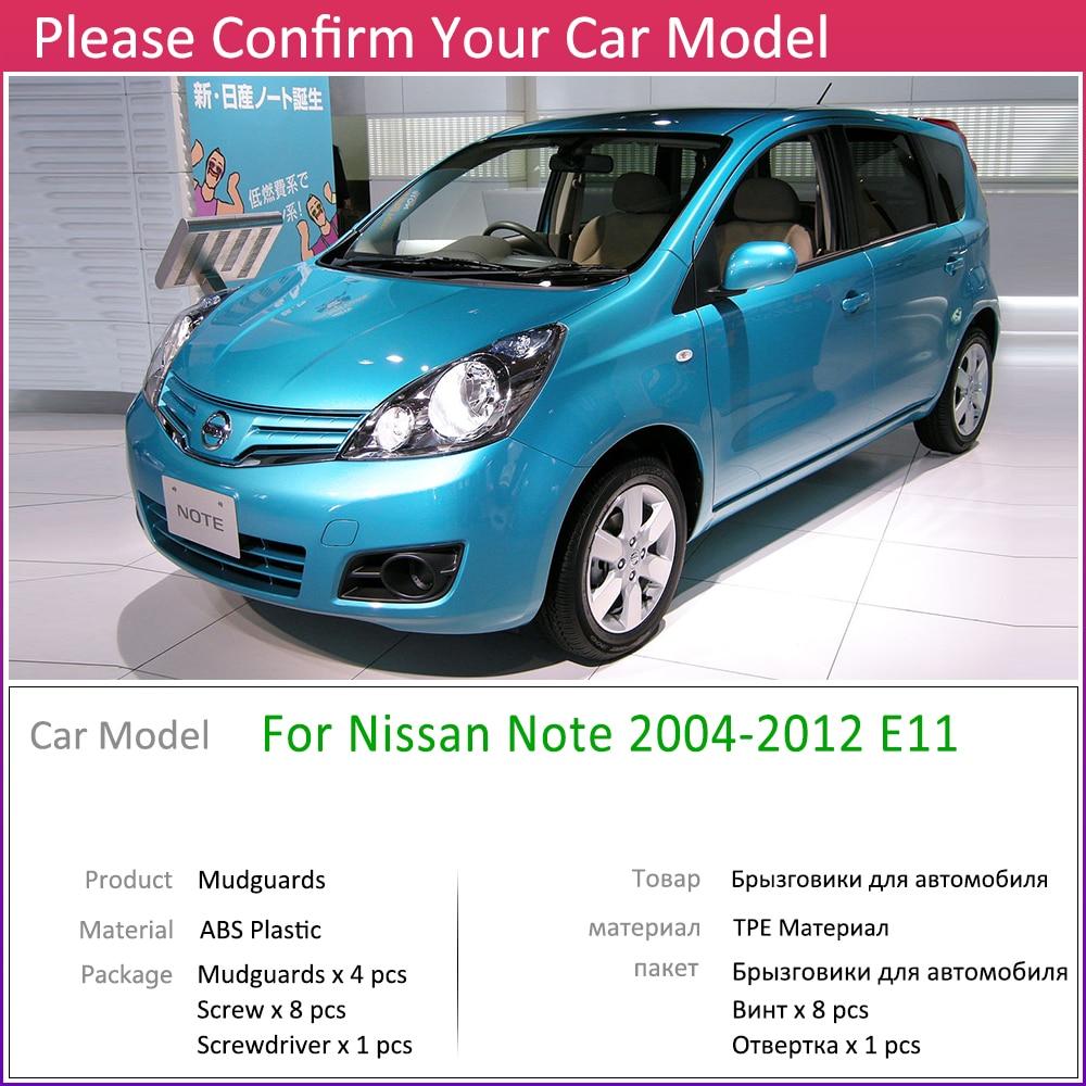 for Nissan Note 2004~2012 E11 Mudflap Fender Mud Flaps Guard Splash Flap Mudguard Accessories 2005 2006 2007 2008 2009 2010 2011