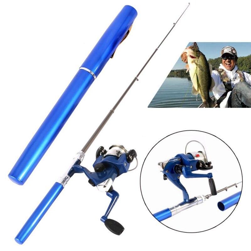 Mini Camping al aire libre viaje Baitcasting telescópico bolsillo pluma forma caña de pescar + carrete + línea de pesca