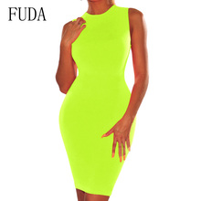 FUDA Neon Green Summer Womens Dress Sleeveless O Neck High Waist Tight Pencil Stretchy Casual Streetwear Party Dresses
