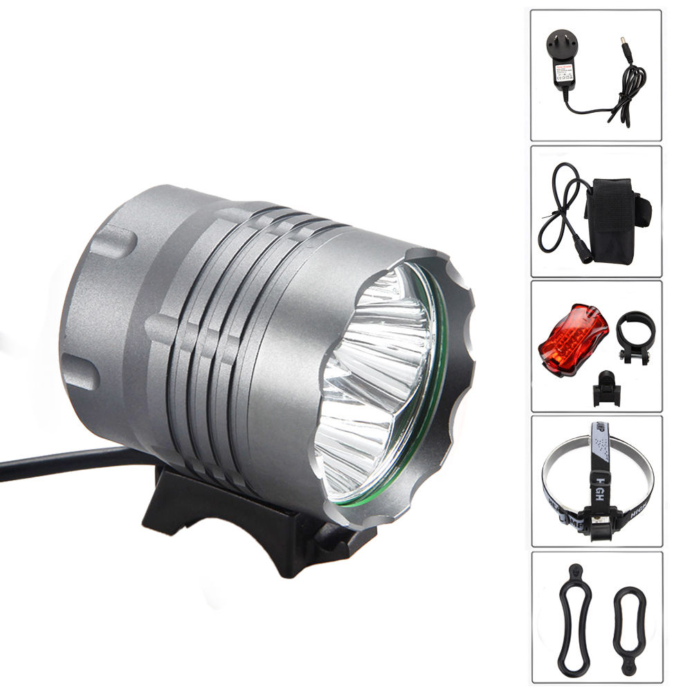 2400 Lumen 4 LED lamp beads 12000mAh Battery bike light bicycle reflector light Lamp Headlight flashlight+Charger+Rear Light