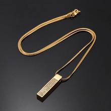 Fashion Gold Cube Bar Pendant Necklace Hip Hop Men Charm Small Full CZ Stone Design Filling Chain Length 60cm