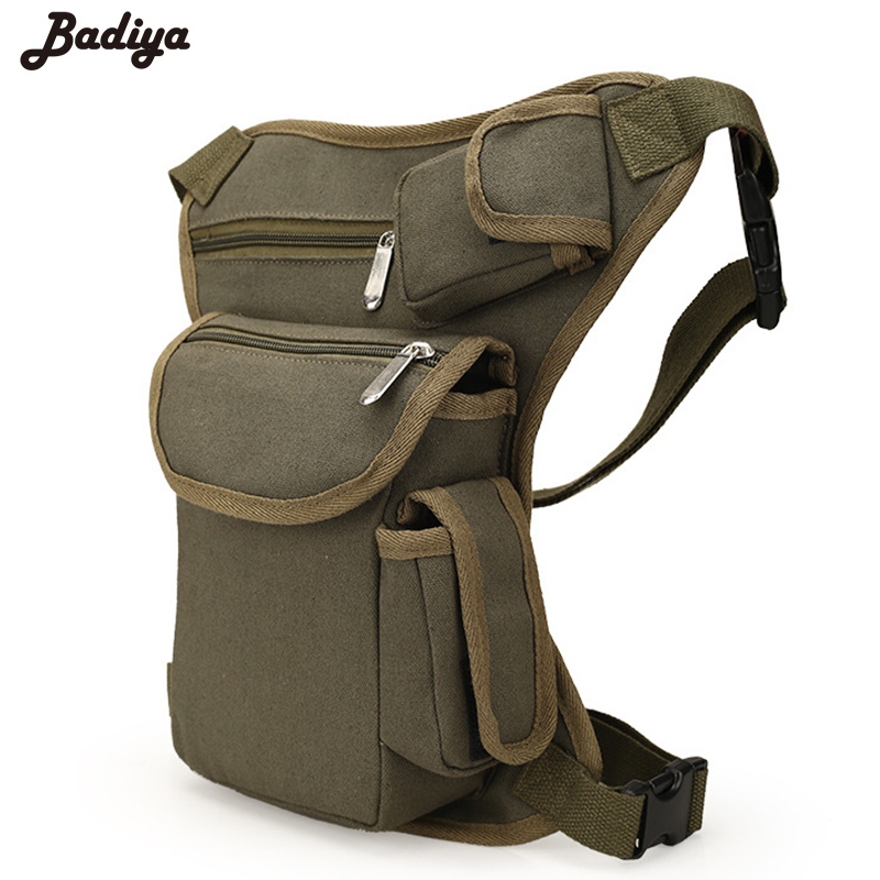 Portable Men's Waist Bag Money Belt Pack Casual Men Canvas Thigh Leg Drop Military Travel Riding Motorcycle Multifunctionl Bags
