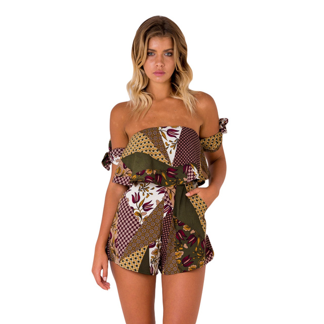 Sexy Women Summer Jumpsuit Short Rompers Floral Geometric Off Shoulder  Overalls Bowknot Sleeve Pockets Backless Beach Playsuit 9d885094f535