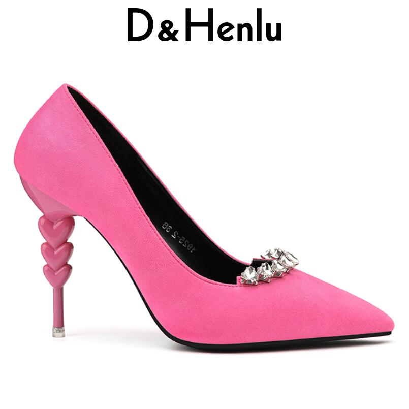 D&Henlu Women Heels Crystal Pumps Woman High Heels Shoes Ladies Sexy Pointed Toe Black Pumps Stiletto sapato salto alto sexy nes mixed colors serpentine sexy women high heels ankle hook loop pointed toe stiletto pumps ladies banquet party shoes woman