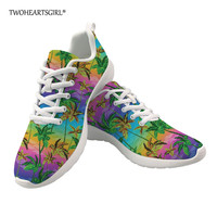 Twoheartsgirl Palm Tree Print Women Sneakers Hawaiian style Ladies Casual Shoes Breathable Vulcanization Lace Up Women Sneakers