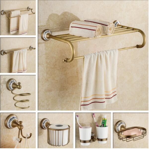 где купить New Luxury Copper bathroom accessories antique towel bar glass shelf toilet brush holder robe hook wall mount bath hardware set дешево