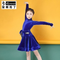 2018HCDance Royal Latin spring children's new Latin dance long sleeved performance dress in velvet dress Latin Dance Dress A9028