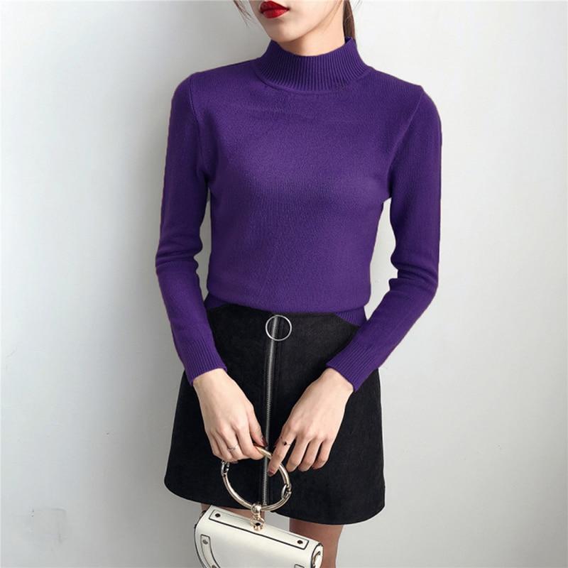Coreano dark Otoño Mujeres Slim Fit Brown Black Básicas Suéter Invierno Turtleneck Negro Hecho Suéteres Punto 2018 Estilo gray purple Cachemira PBFqgg