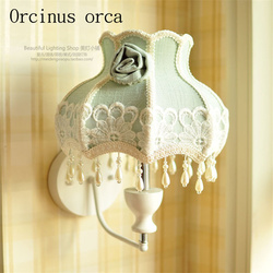 Lampa ścienna w europejskim stylu sypialnia tło ściana korytarz TV ściana śródziemnomorska dekoracja nocna tkanina kinkiet