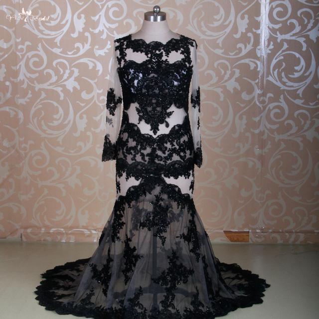cf27ea22d6cb RSW1309 Libano Sexy Manica Lunga Abito Da Sera Vedere Attraverso Black Lace  Mermaid Dress Real Photo