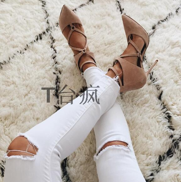 Designer pointed toe crisscross strap high heel women pumps fashion cutouts suede stiletto heels free shipping size 34 to 42 summer autumn fashion ankle wrap back zipper pointed toe stiletto heel pumps concise strappy crisscross sueded high heels