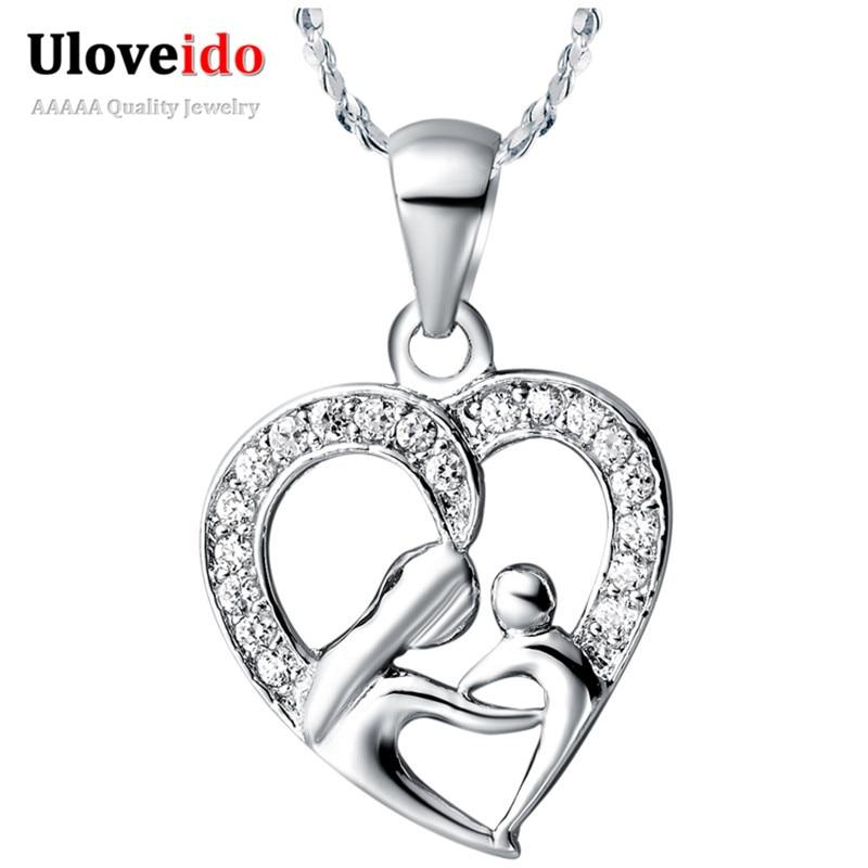 Uloveido 10% kedvezmény az anyák napja ajándékok az anya ezüst színű nyaklánc divat nyakláncok és medálok a nők lányok Ingyenes szállítás N595