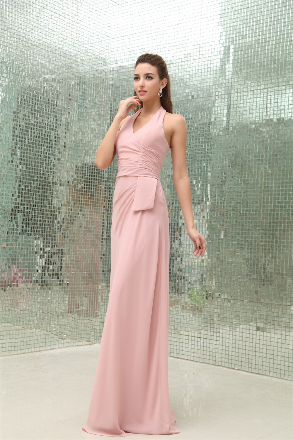 Cheap 2016 blush pink long bridesmaid dresses halter floor length cheap 2016 blush pink long bridesmaid dresses halter floor length chiffon maid of honor gowns in bridesmaid dresses from weddings events on aliexpress ombrellifo Image collections