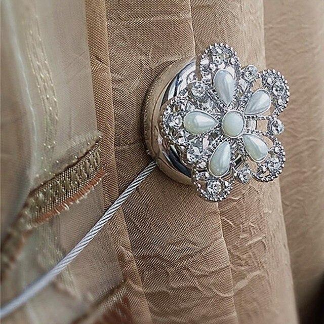 Forma de Flor de strass Laço Fivela Cortinas Da Janela Cortinas Ímã Magnético Titular Cortina Tieback Belt Acessórios Íntimos