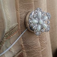 Rhinestone Flower Shape Magnet Curtains Tie Buckle Window Magnetic Tieback Holder Curtain Belt Intimate Accessories