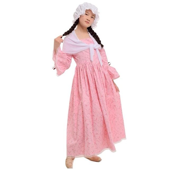 eb11cb38ec7 Kids Girls Carnival Costume Countryside Pilgrim Pioneer Colonial Cosplay Dress  Bonnet Set Yellow Gray