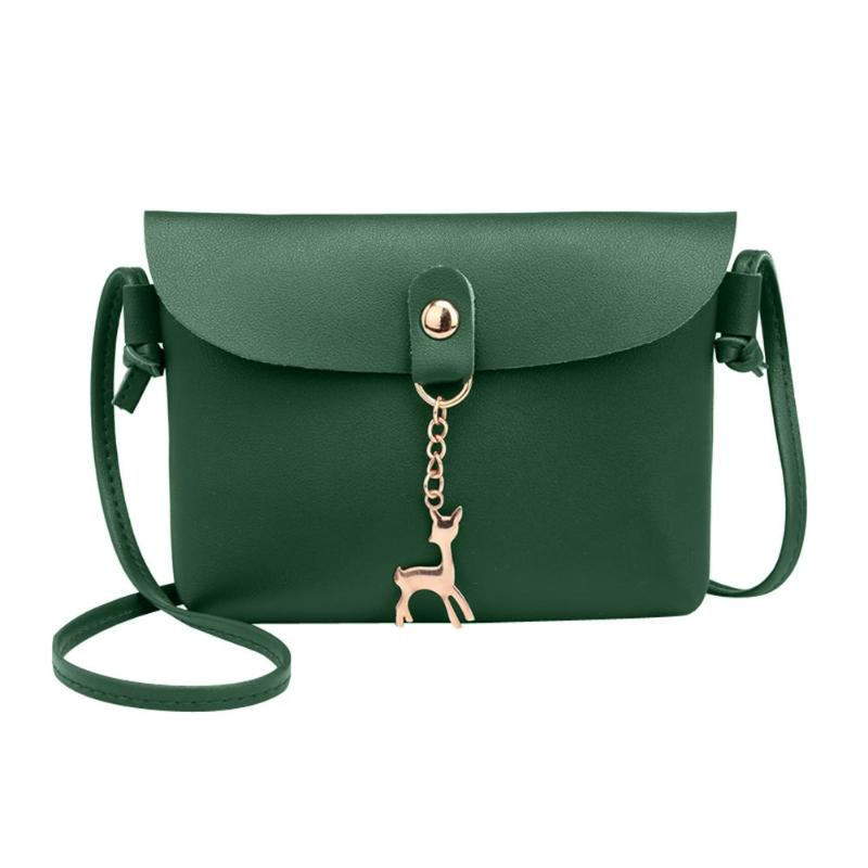Fashion Fawn Pendant Pure Color Messenger Bag for Girls Simple PU Leather Mini Shoulder Bag Women Casual Crossbody Phone Handbag messenger bag