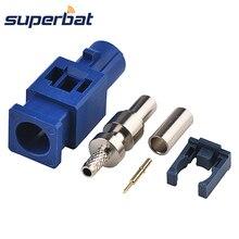 Superbat Fakra C синий/5005 штекер обжимной для RG316 RG174 LMR100 кабель для gps телематики или навигации длинная версия