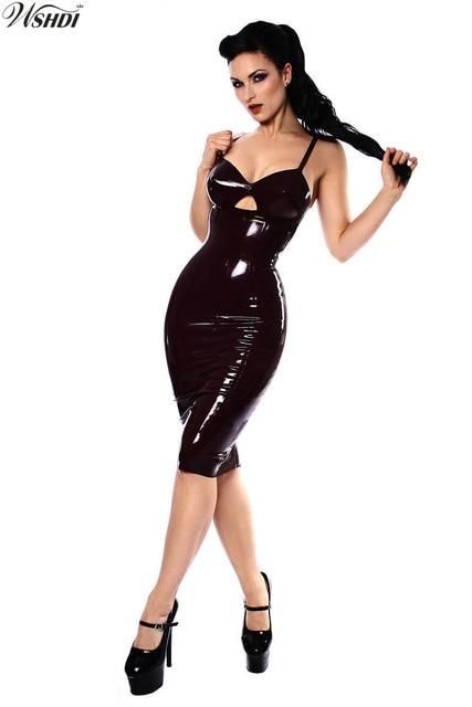 Women Shiny Black Faux Leather Mini Dress Wet Look Pvc Latex Dress Sexy Bodycon Party Nightclub