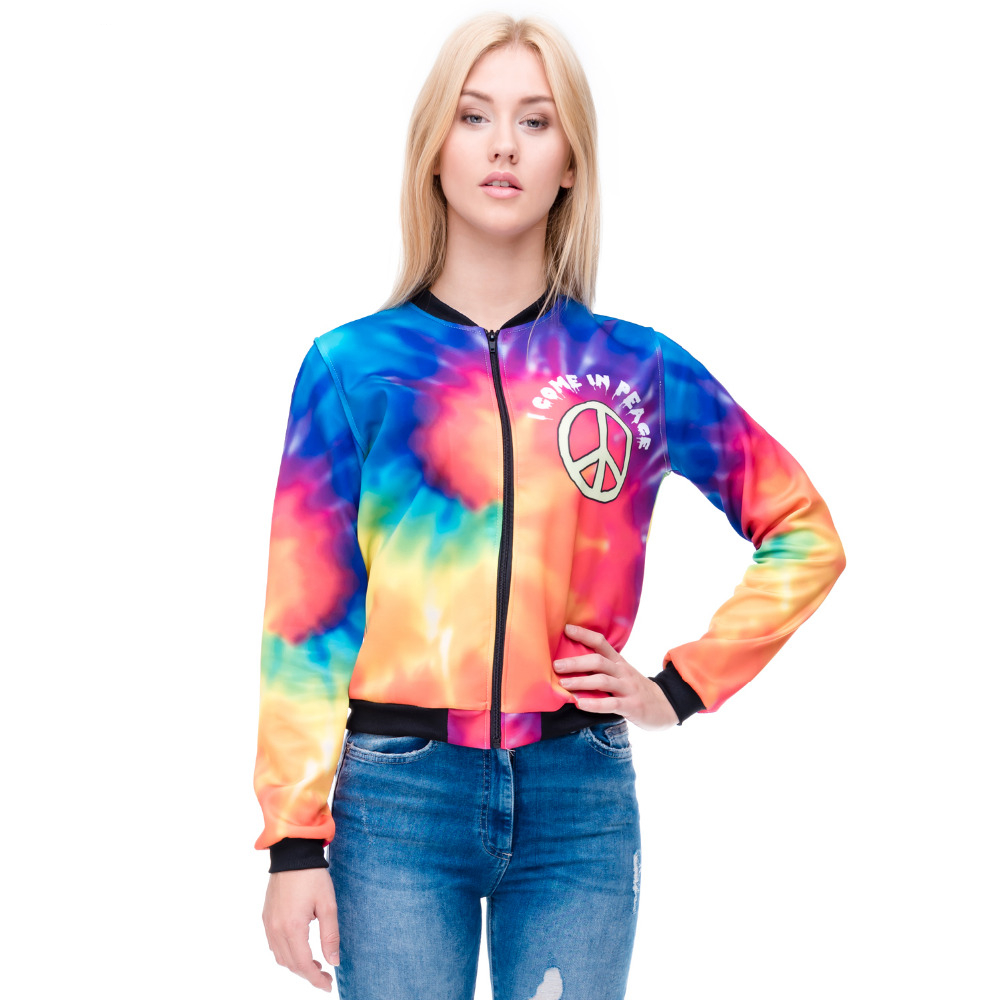 Women Bomber   Jacket   Colorful Rainbow 3D Printed Fashion Sexy Short   Jacket   Coats Outwear   Basic     Jackets
