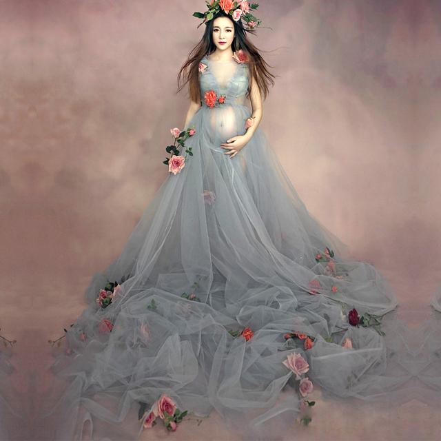 Mulheres grávidas Maternidade Moda Fotografia Adereços Romântico Elegante longo Arrastando Vestido de Fadas vestido Chá de sessão de Fotos
