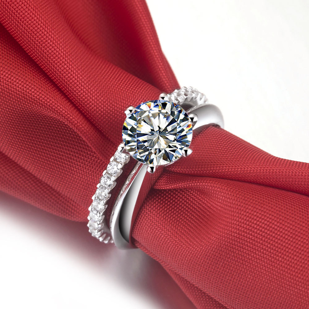 1CT Excellent Design Lovely Genuine Synthetic Diamonds Rings Set