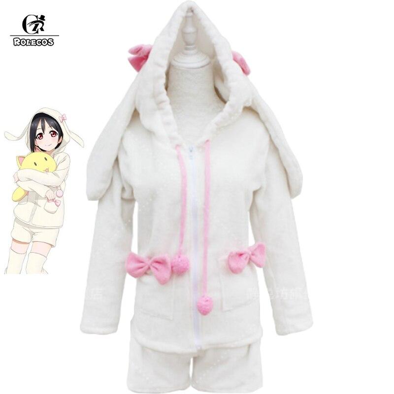 ROLECOS Anime Lovelive! Cosplay Costume Nico Yazawa Cosplay Costume Rabbit Girl White Winter Sleepwear Tracksuit