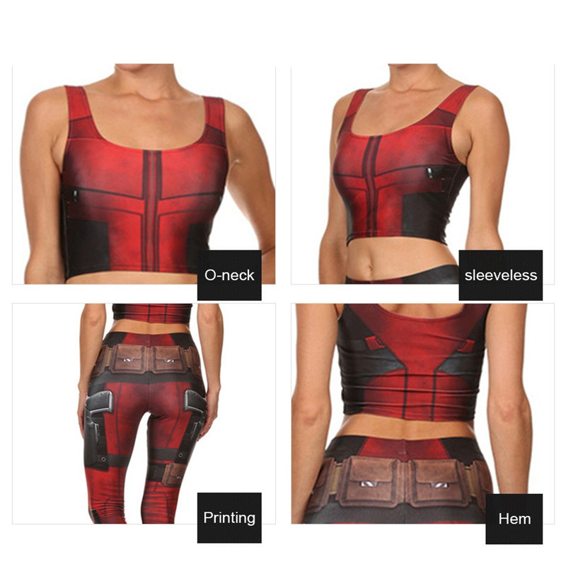 Takerlama Sexy Girl Vest Tank Tops Cosplay Deadpool Superhero Prints Slim Fitness Sleeveless Women Cropped Tops Printed Leggings 5