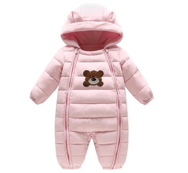 Baby Rompers Newborn Baby Boy Girl Thick Warm Duck Down Winter Snowsuit Baby Cute Bear Hooded Jumpsuit Newborn Baby Boy Clothes kids rompers newborn baby girl duck down winter snowsuit baby cute hooded jumpsuit baby boy clothes ski suit red blue jacket