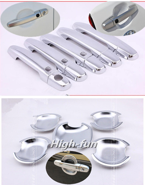For <font><b>Toyota</b></font> <font><b>RAV4</b></font> 5 Door <font><b>2006</b></font> - 2013 New ABS Chrome Car door handle + Cup Bowl covers with Smart Entry Buttons image