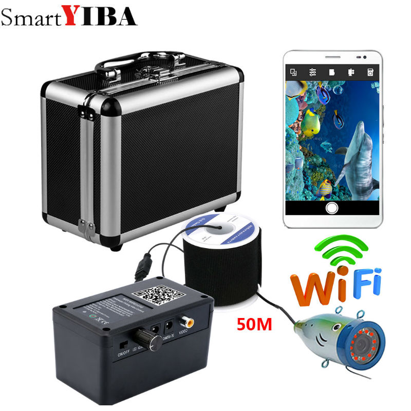 SmartYIBA Wifi Wireless 50M Underwater Fishing Camera Video Recorder  For IOS Android APP Supports12 pcs infrared lamp lightsSmartYIBA Wifi Wireless 50M Underwater Fishing Camera Video Recorder  For IOS Android APP Supports12 pcs infrared lamp lights