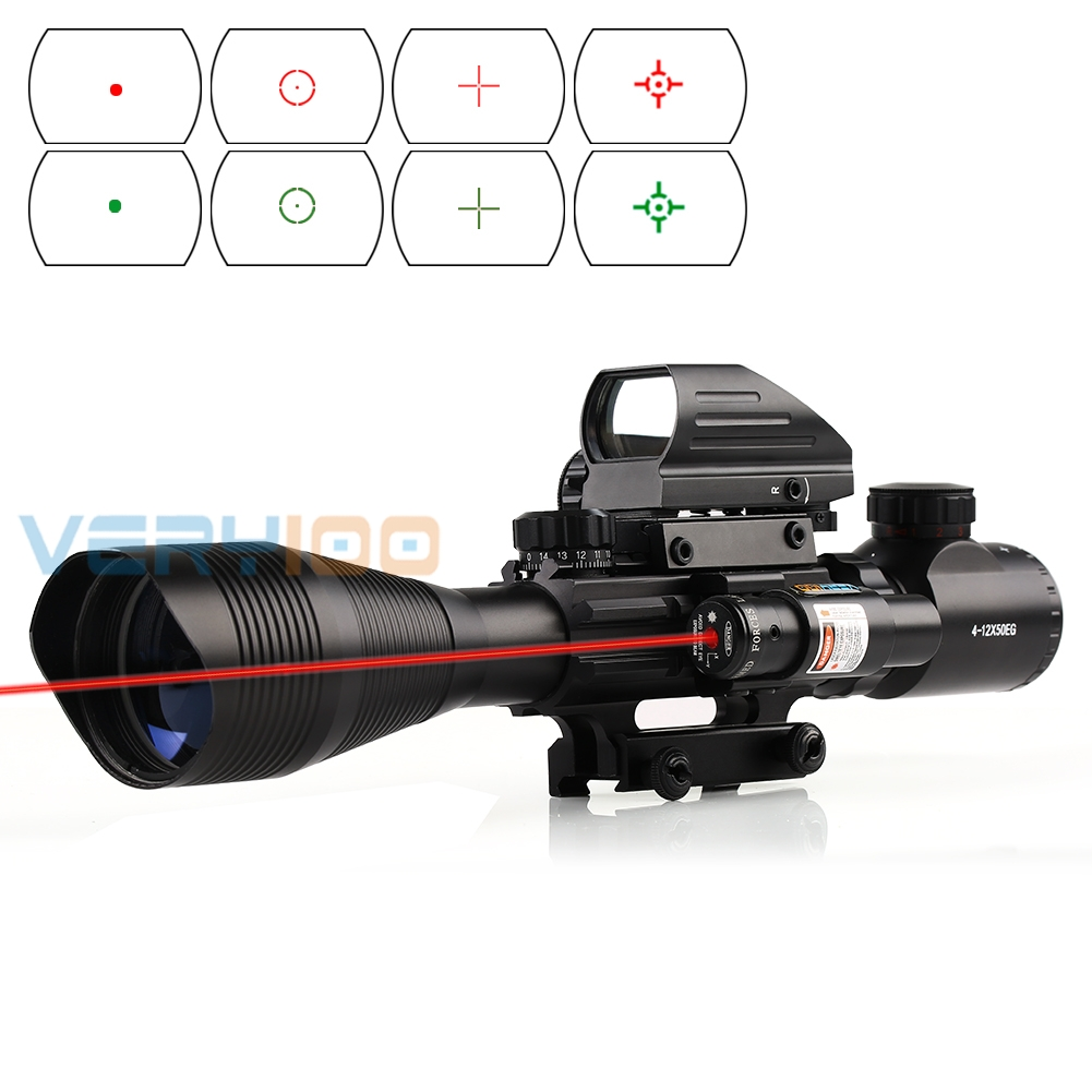 VERY100 4-12X50 EG Tactical Rifle Scope w/ Holographic 4 Reticle Sight & Red Laser JG8 for HuntingVERY100 4-12X50 EG Tactical Rifle Scope w/ Holographic 4 Reticle Sight & Red Laser JG8 for Hunting