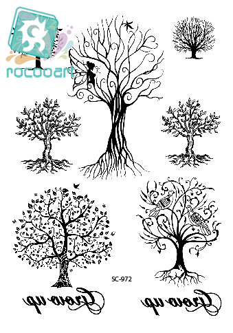 Rocooart SC2972 Large Taty Sketch Black White Autumn Genius Trees Water Transfer Body Art Temporary Tattoo Stickers Fake Tatoos
