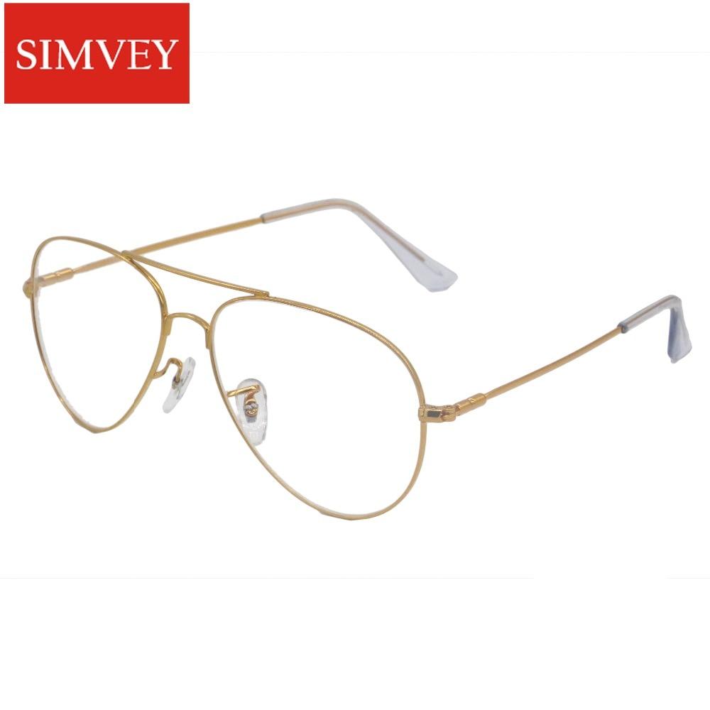 56781ad072 Simvey 2017 Brand Designer Gold Big Clear Aviation Fake Glasses Frames  Women Men Oversized Memory Alloy Eyeglasses Frames