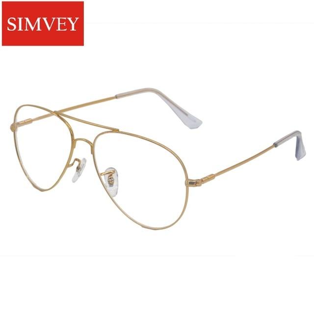 ae3d52d9e Simvey 2017 Marca Designer Ouro Big Limpar Aviação Falsos Armações de Óculos  Armações de Óculos De