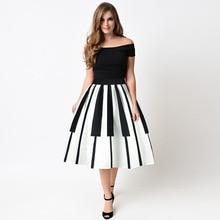Női szoknya rövidnadrág Fehér Fekete Csíkos Patchwork Esküvői Party szoknya női Ball Gown Női magas derék a-line szoknyák a Girl