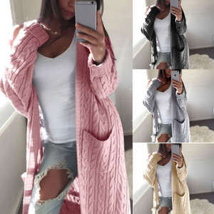 Sweater Top Cardigan Pull Femme Long-Sleeve Knitted Loose Female Women