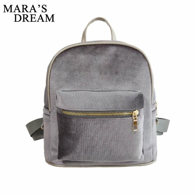 d1d178aa07 Mara s Dream Women Velvet Backpacks Mochila Feminine Mini Small Black Backpack  Female Rucksack Shoulder Bag For Teenage Girls
