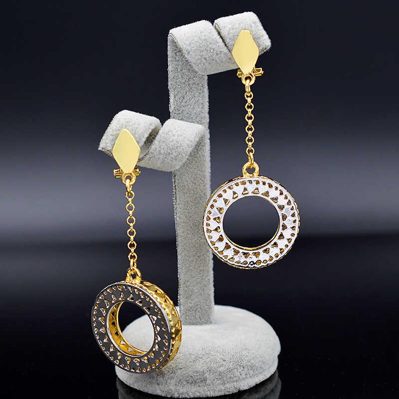 Ensoleillé bijoux rond étoile creux déclaration bijoux 2019 pour les femmes collier boucles d'oreilles pendentif bijoux ensembles pour fête de mariage cadeau