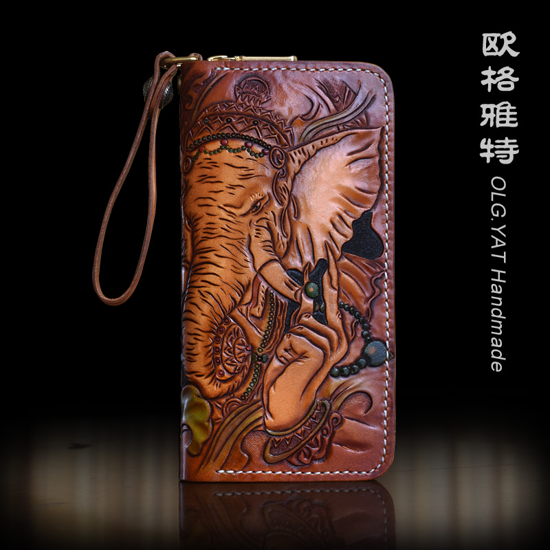 OLG.YAT handmade wallet men purse Vegetable tanned leather men wallets women bag Cowhide Hand-carved Elephant handbag Choi cloth bioelectric therapy device prostatitis treatment natural remedies