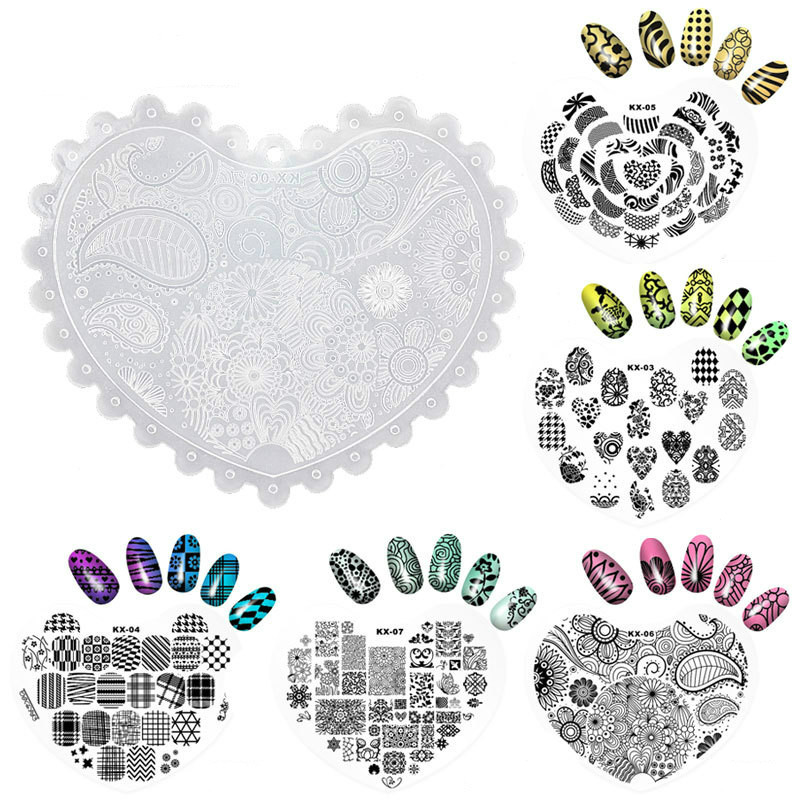 1pc Heart Shape Nail Art Stamp Template Flower Vine Rose Leaves Floral Image Pattern Printing Plate