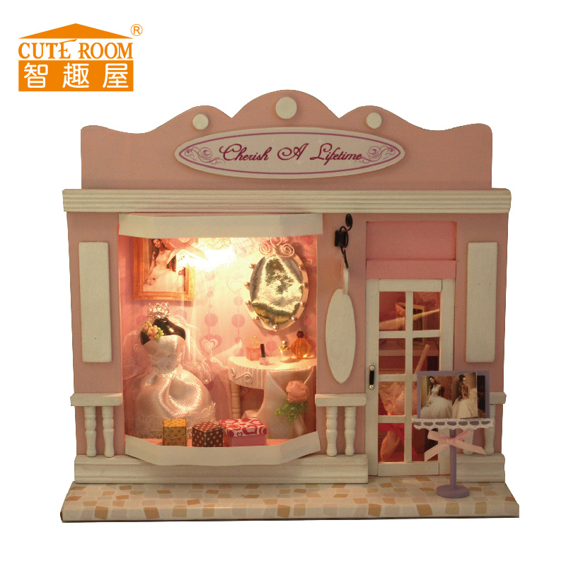 CUTE ROOM Handmade Pink Doll House Furniture Diy Doll Houses Miniature Dollhouse Wooden Toys Children For Kids Birthday Gift kids pretend play toys furniture for dolls wooden miniature dollhouse tree house with doll children doll room educational toy
