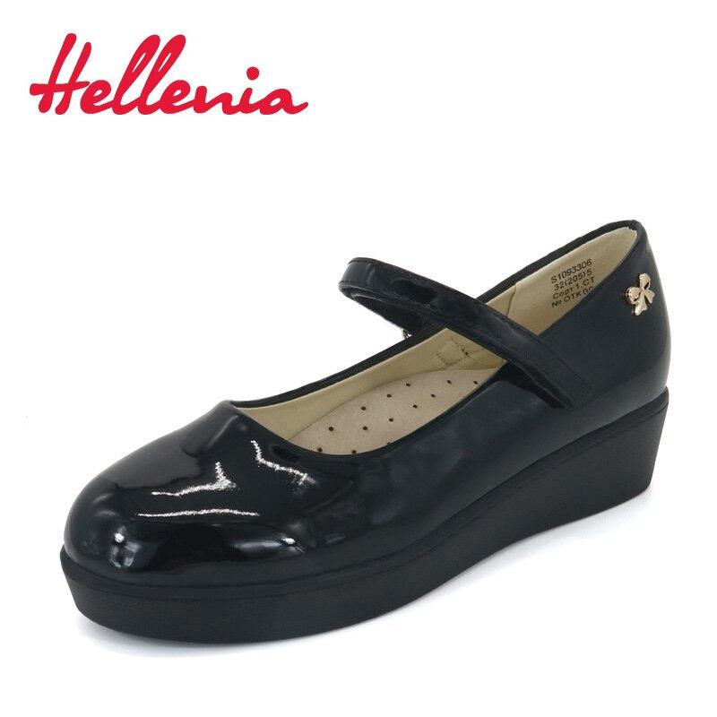 Hellenia School Student Shoes PU pantent Leather Children Shoes girls uniform platform wedges heels buckle strap black size32-36
