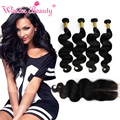 Top Quality 6A Virgin Human Hair Bouncy Body Wave Malaysian 4bundles With Closure Aliexpress UK Human Hair Extensions Fast Deals