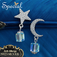 Special Brand New Fashion 925 Sterling Silver Stud Earrings Star Moon Crystal Ear Pin 2017 Jewelry