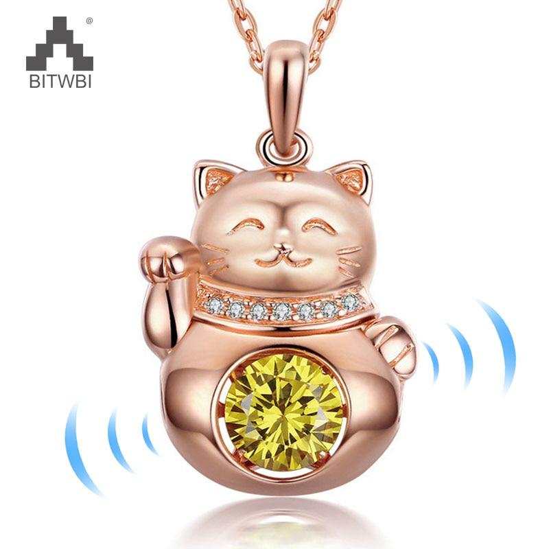 100% 925 Sterling Silber Glück Katze Anhänger Nette Glückliche Tiere Schütteln Gelb Kristall Halskette Für Frauen Schmuck