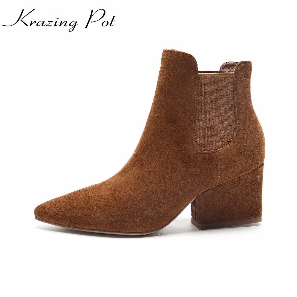 Krazing Pot 2018 new arrival sheep suede pointed toe high heels fashion winter Chelsea boots handmade women nude ankle boots L96