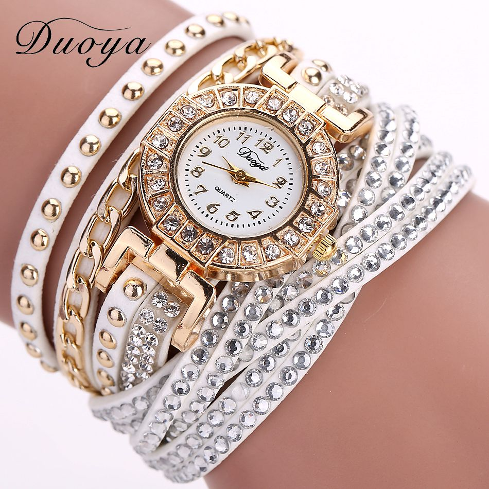 Duoya Brand Watches For Women Gold Fashion Bracelet Crystal Rhinestone Wristwatch Leather Casual Electronic Quartz Clock Watch women wristwatch women crystal rhinestone butterfly bracelet quartz watch wristwatch aug 23