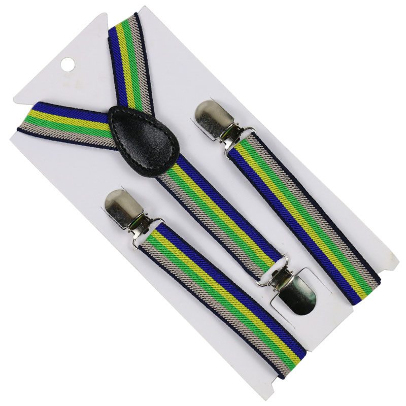 Winfox Fashion 3 Clip-on Y-Back Braces Elastic Kids Suspenders Baby Boys Suspenders 2.5cm Wide Colorful Striped Suspenders