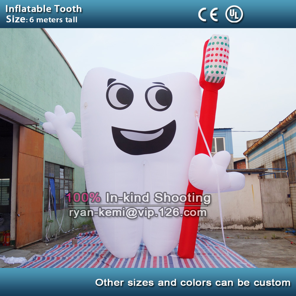 6m 20ft tall giant inflatable tooth balloon with toothbrush on hand for dentist advertising image